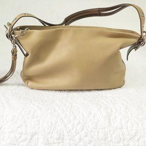 Coach dark tan leather shoulder bag #1417